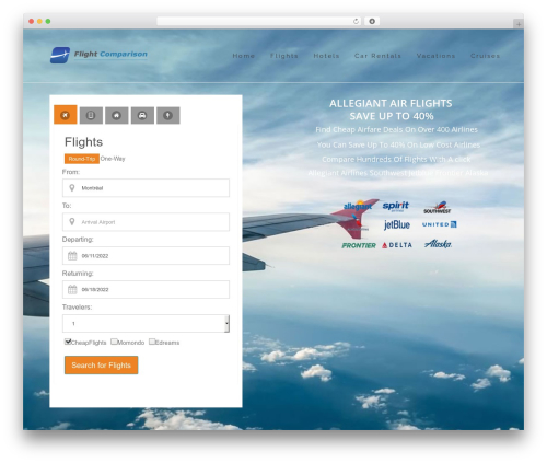 WordPress website template Skylar - allegiantairtickets.com
