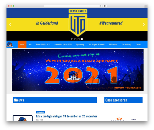 Redesign Sportlinkclubsites WordPress page template - tbgdragons.nl