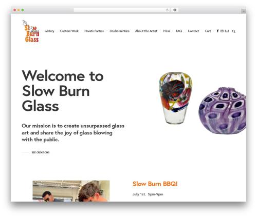 Revolution WordPress theme design - slowburnglass.com