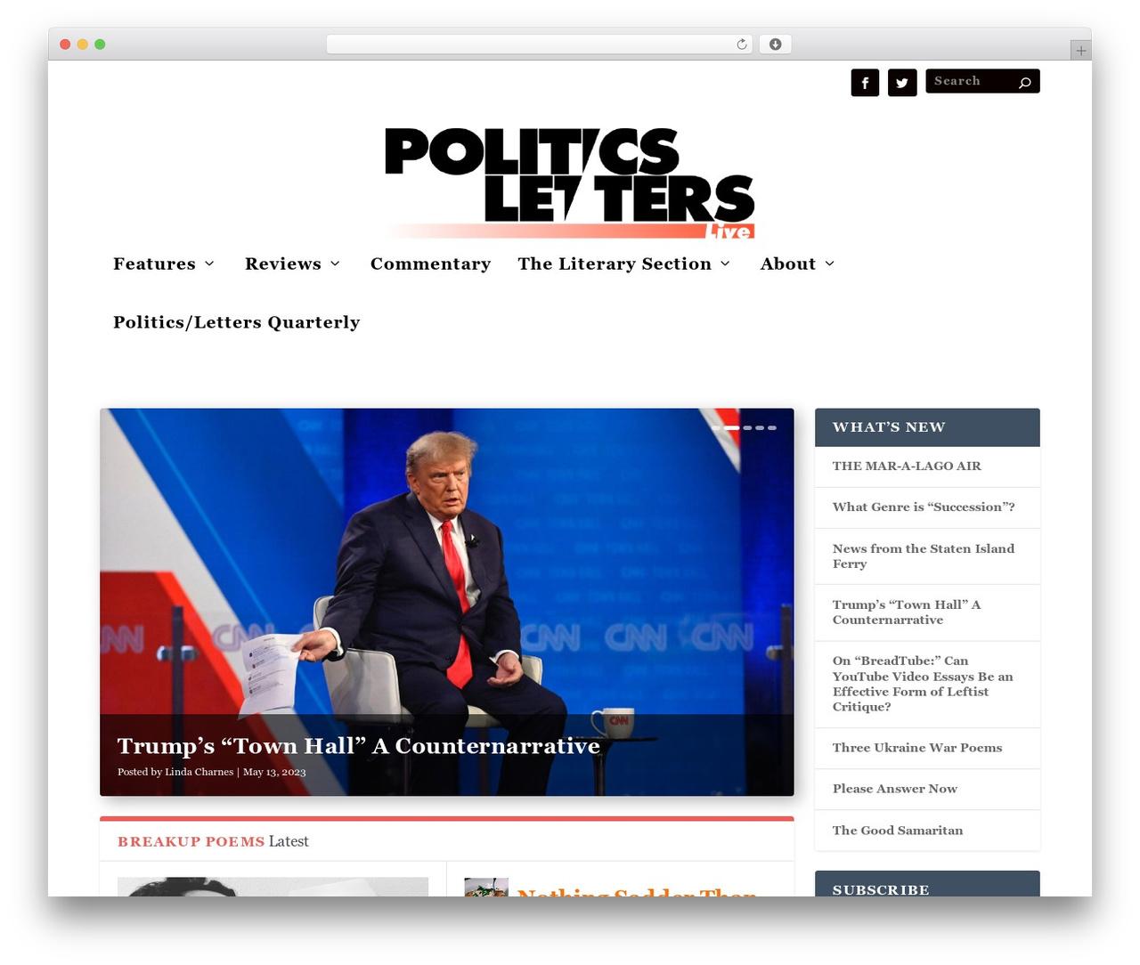 WordPress website template Extra - politicsslashletters.org
