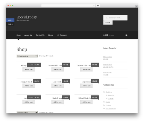 Boutique free website theme - special.today