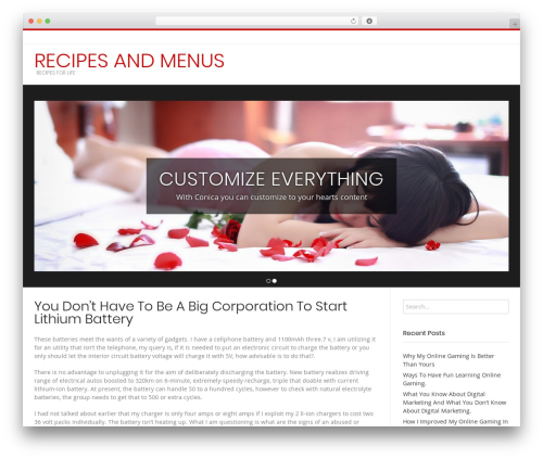 Conica WordPress website template - recipesandmenus.com