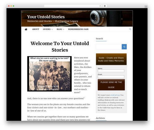 Socrates v5 WordPress theme - youruntoldstories.com