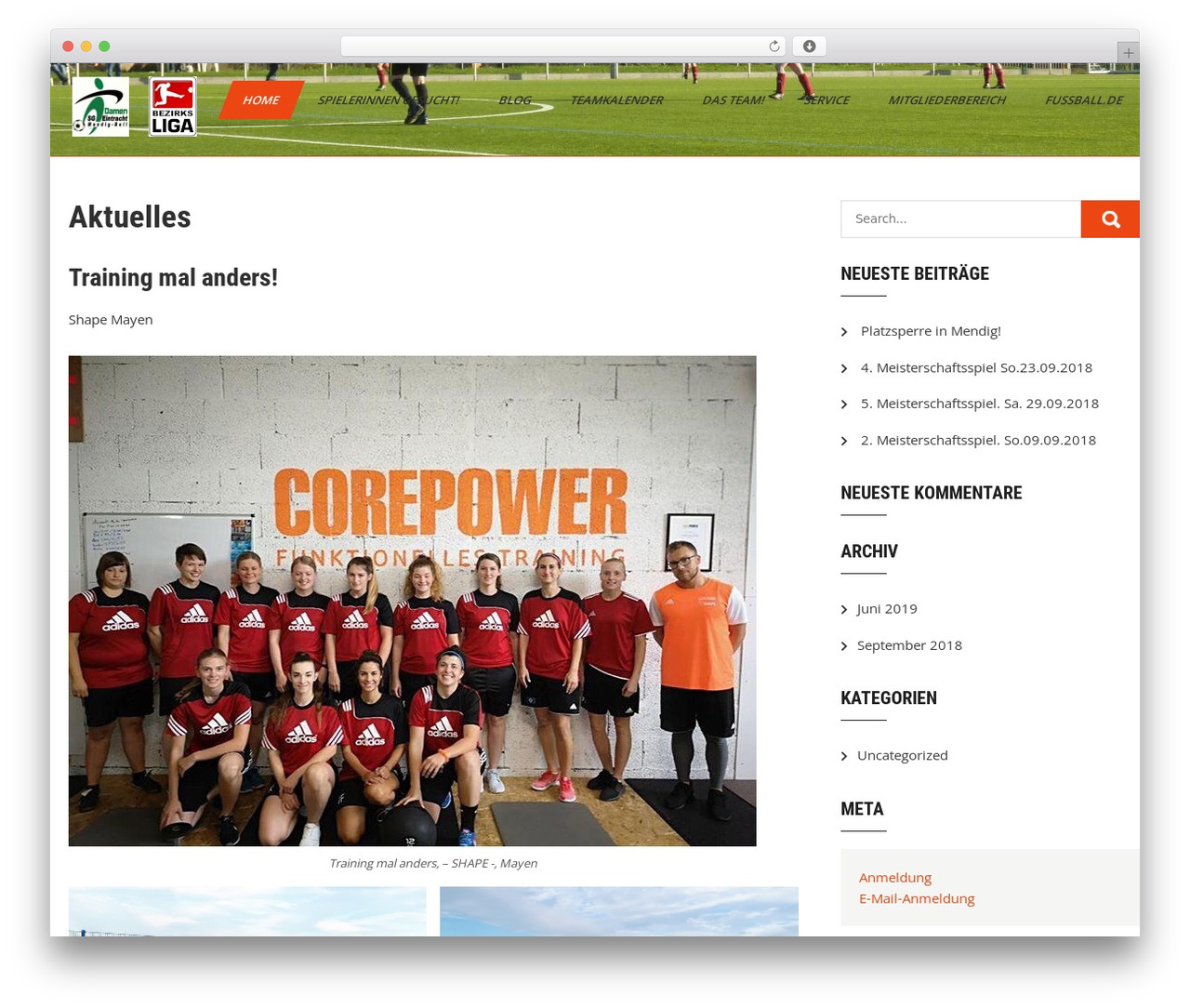 Sports Club Lite theme WordPress - damen-sgeintrachtmendigbell.de