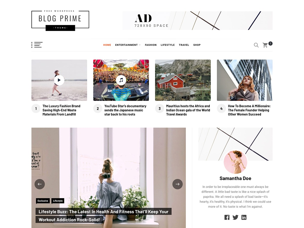 Blog Prime best portfolio WordPress theme