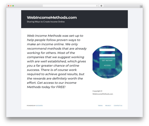 WordPress theme Socrates v5 - webincomemethods.com