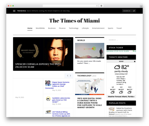 Extra Child Theme best WordPress magazine theme - thetimesofmiami.com