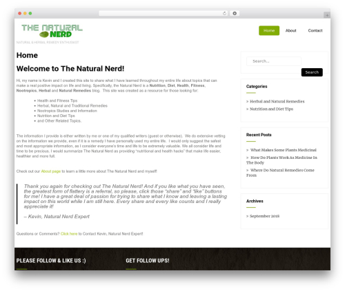 Eco Friendly Lite WP theme - thenaturalnerd.com