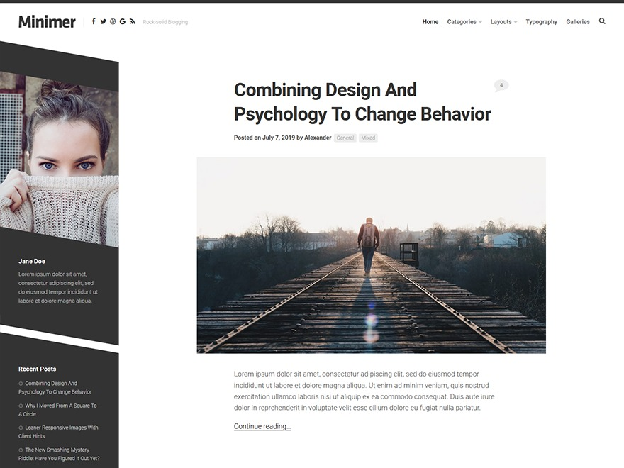 Minimer WordPress blog template
