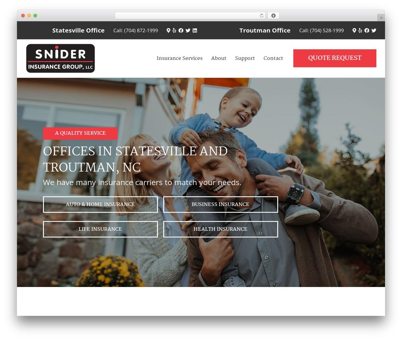 WordPress theme BrightFire Stellar - sniderinsurance.com