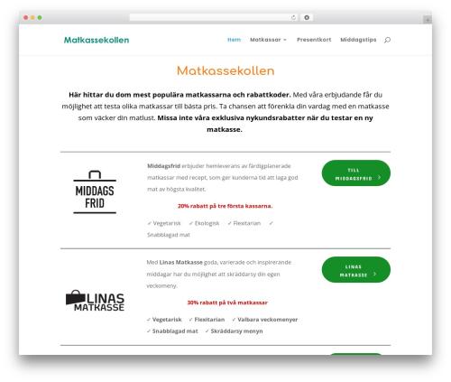 WordPress template Divi - matkassekollen.se